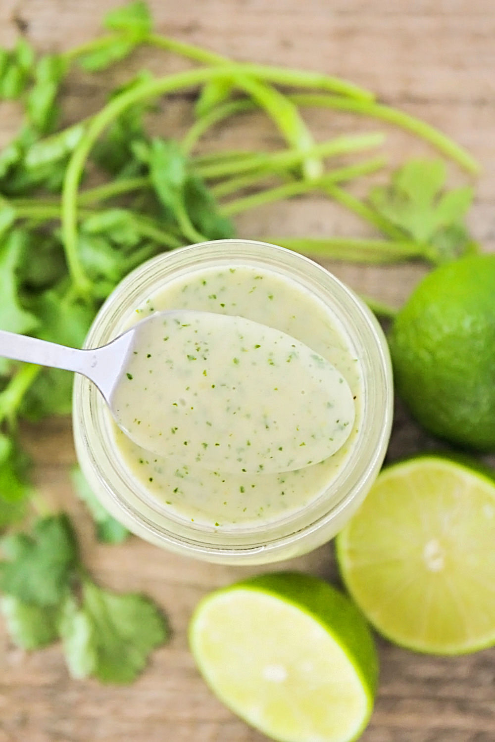 This creamy and delicious cilantro lime dressing takes only a few minutes to make!