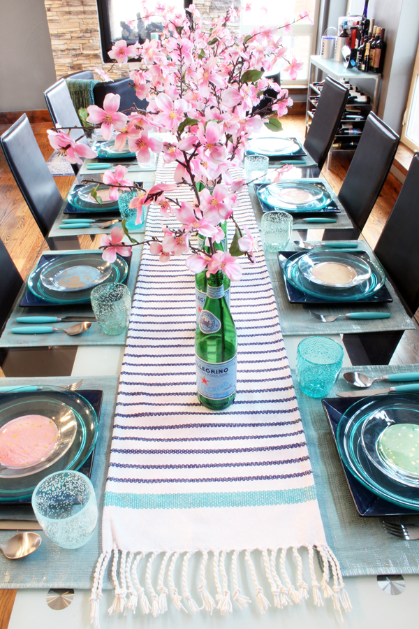 Easter Tablescape with Upcycled Pelegrino Bottle Vases