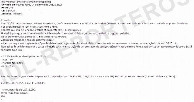 El correo electrónico donde coordinan el pago de US$100 mil a favor de Alan García.
