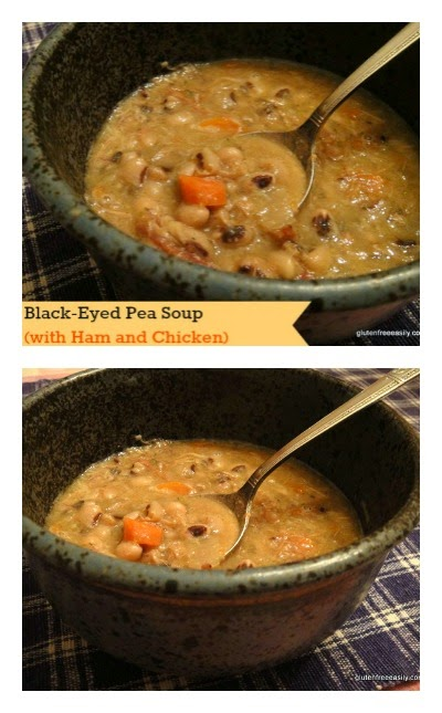 Slow Cooker Black-Eyed Pea Soup with Ham and Chicken from Gluten-Free Easily featured on SlowCookerFromScratch.com