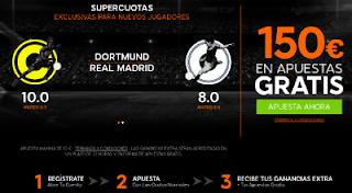 888sport bienvenida 150 euros + supercuota 10 o 8 Dortmund o Real Madrid gana champions 27 septiembre