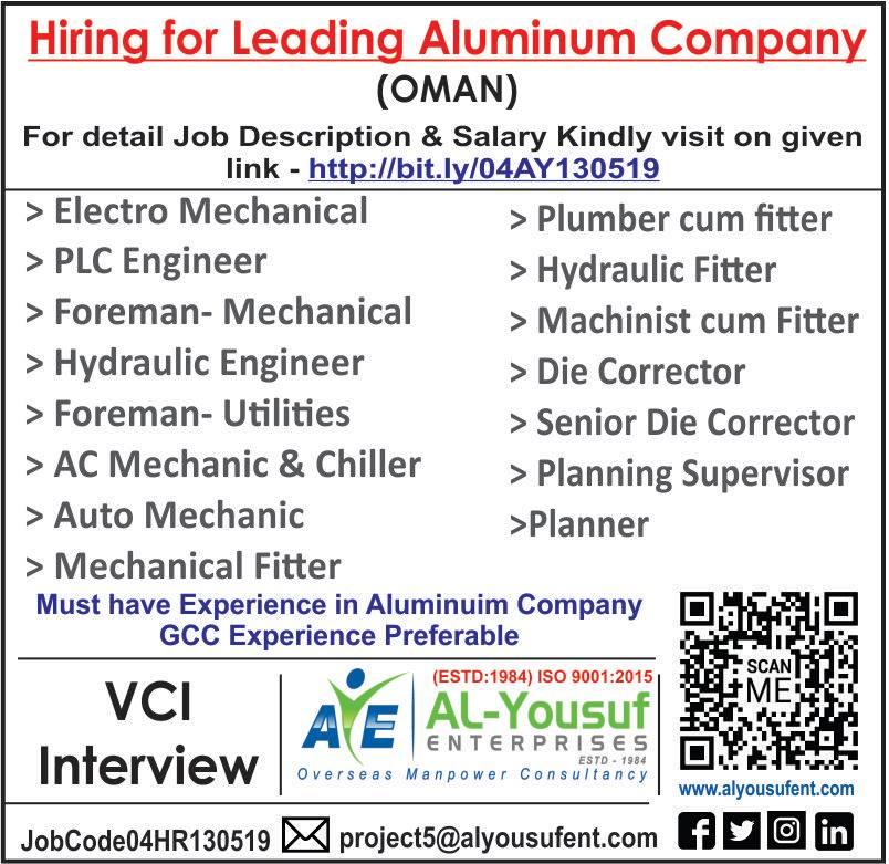 hiring for Leading Aluminum Company Oman