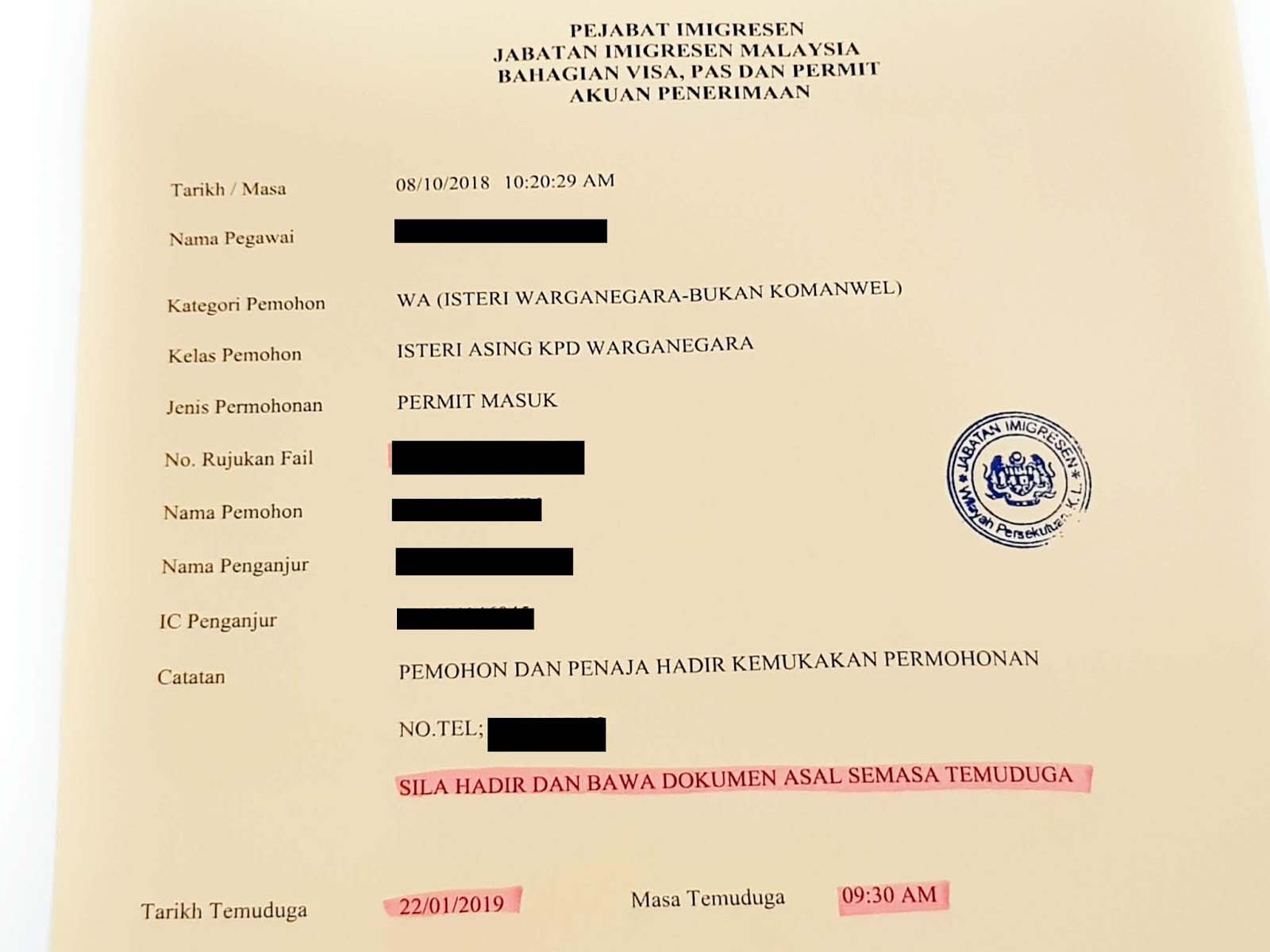 Marrying A Malaysian Immigration Interview For Permanent Residency Pr In Malaysia Just An Ordinary Girl