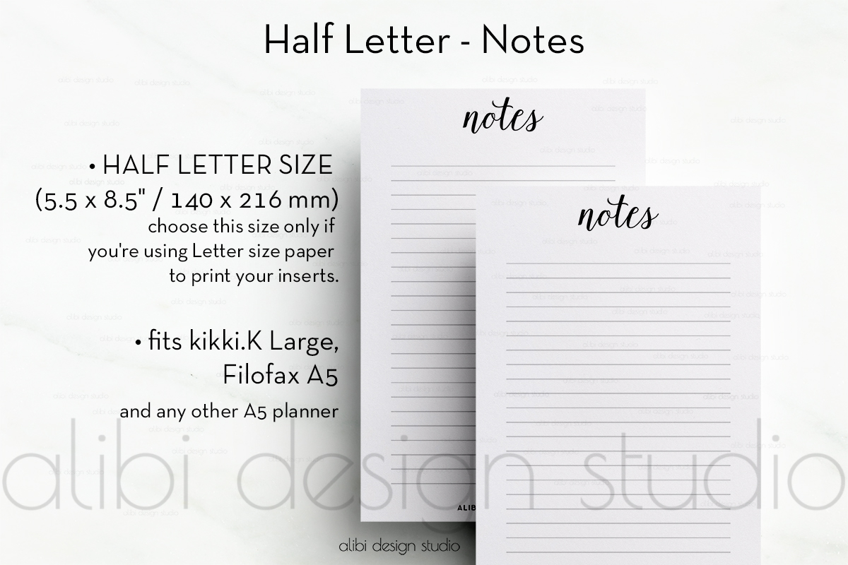 free notes insert half letter size freebies
