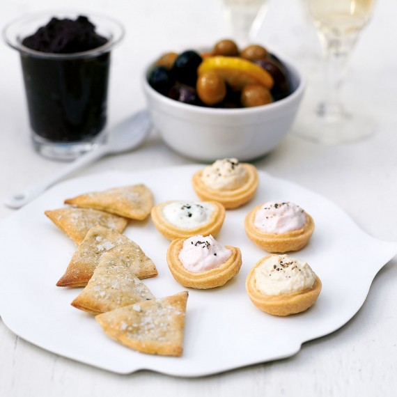 Christmas starter - Rosemary Biscuits with Marinated Olives and Filled Tartlets with recipe link