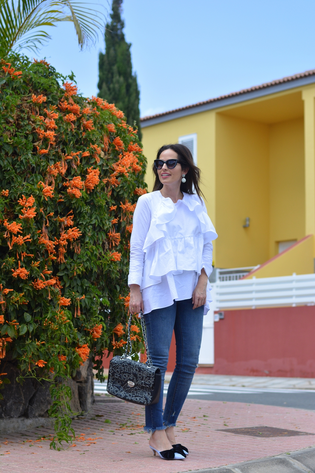zara-frilled-shirt-and-mules-streetstyle-look