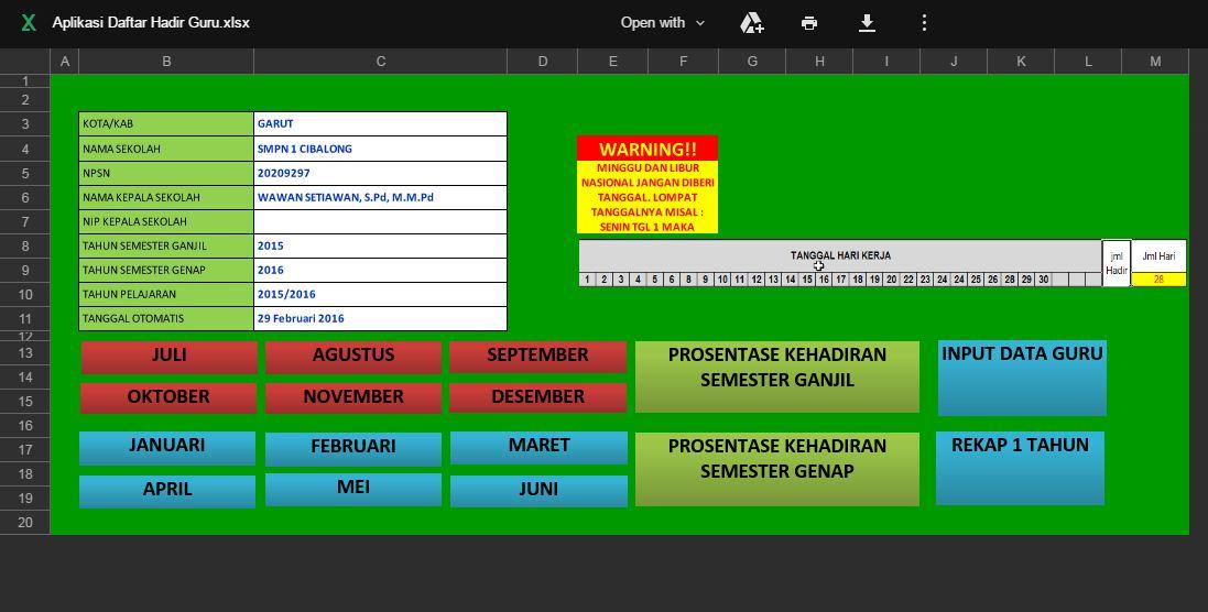 Aplikasi Absensi Kehadiran Guru Dengan Laporan Bulanan Otomatis