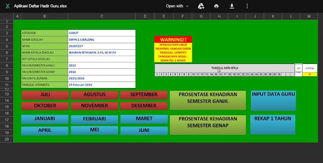 Download Aplikasi Daftar Hadir Guru Otomatis Format Excel Terbaru