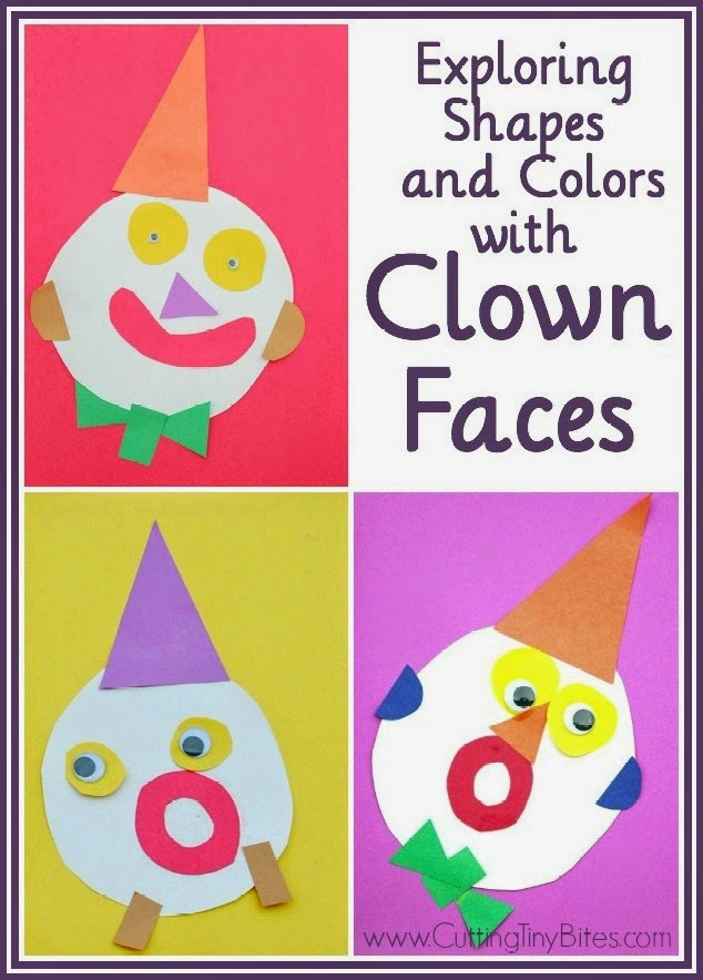 Circus clown craft- Help your toddler or preschooler learn colors and shapes with this fun and easy craft using simple materials!
