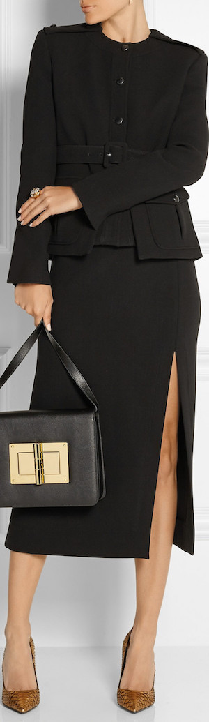 TOM FORD Belted Stretch-Wool Jacket