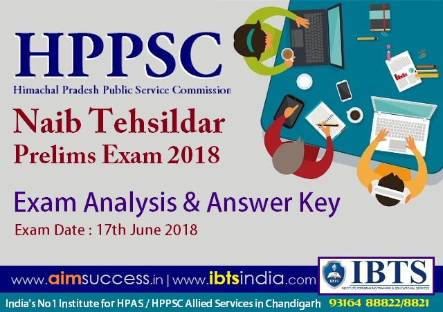 HPPSC Naib Tehsildar Prelims Exam Analysis & Answer Key 17th June 2018