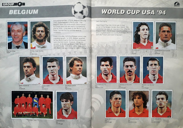 WORLD CUP USA '94 STICKER ALBUM COLLECTION GROUP F BELGIUM