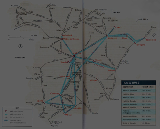 Mapa de trens na Espanha com tempo de viagem entre cidades