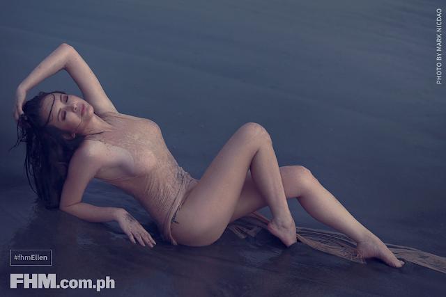 Ellen Adarna in beige dress braless lying at beach