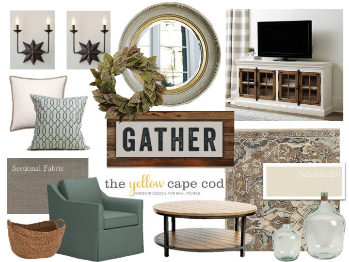The yellow cape cod joanna gaines inspired living room for Joanna gaines dining room designs