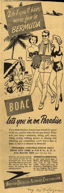 BOAC to Bermuda - two girls for every guy