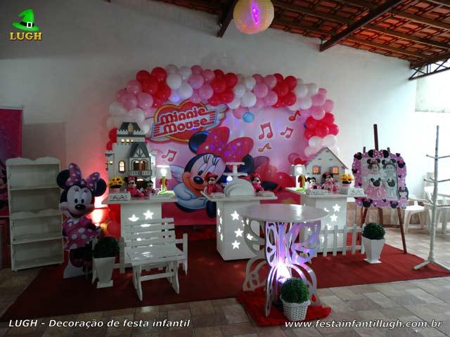 Decoração de 1 ano feminina - Festa de aniversário Minnie rosa