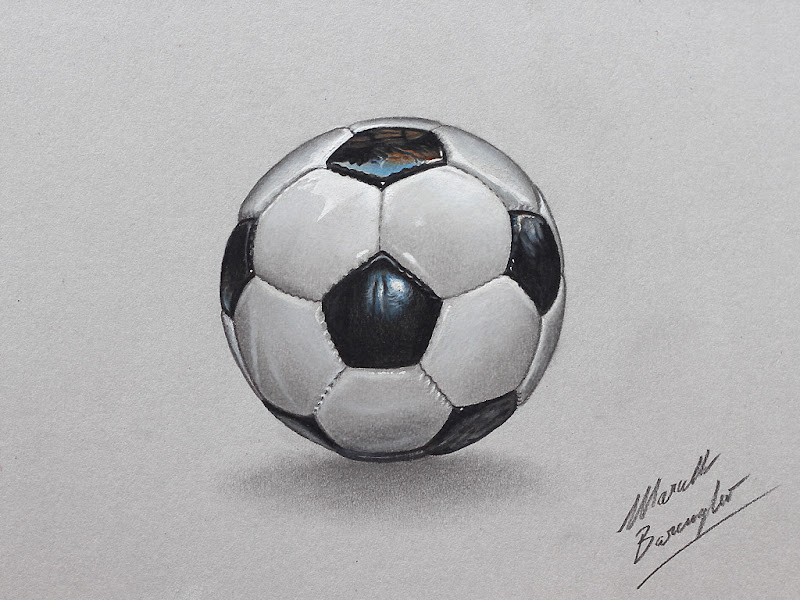 Football Soccer Ball Realistic Drawing
