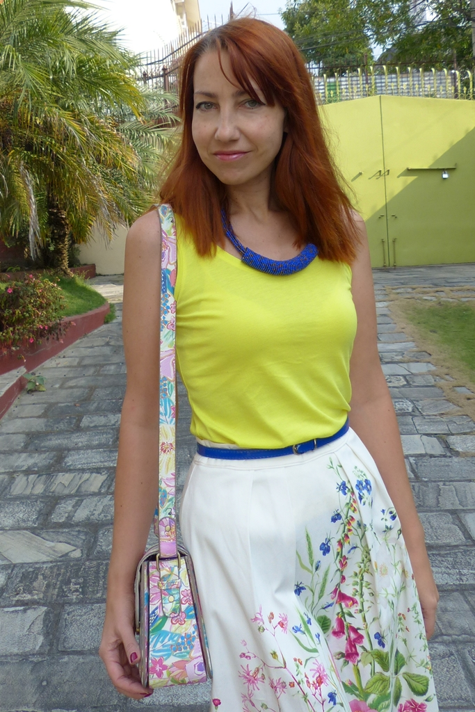Yellow top with blue beads neckalace