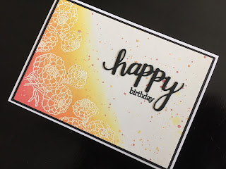 Hand made birthday card with blended ink background emboss resist flowers and die cut and stamped greeting