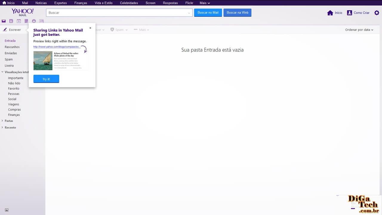 Caixa entrada Yahoo Mail
