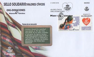 Filatelia, sobre PDC, correos, Manos Unidas, sello,