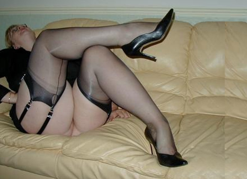 Chubby mature black stockings