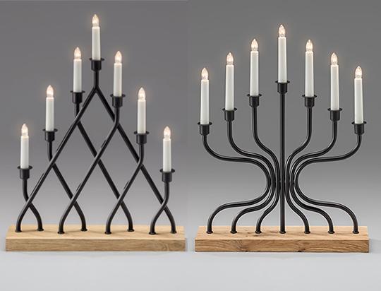 Sjuarmad ljusstake i svart metall och ek från Konstsmide | www.var-dags-rum.se