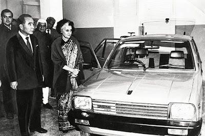 Indira Gandhi unveils the Maruti 800 Car, Maruti Suzuki, with Rajiv Gandhi