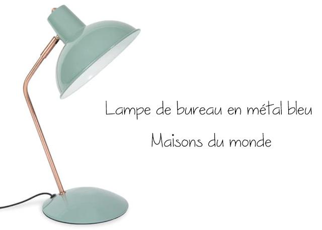 Lampe de bureau en métal bleu - Maisons du monde