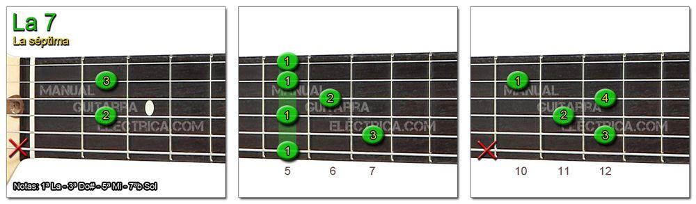 Acordes Guitarra La Séptima - A 7