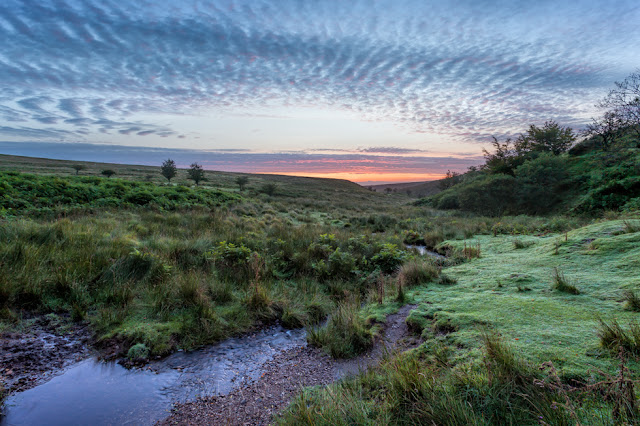 First light on the landscape of Exmoor National Park