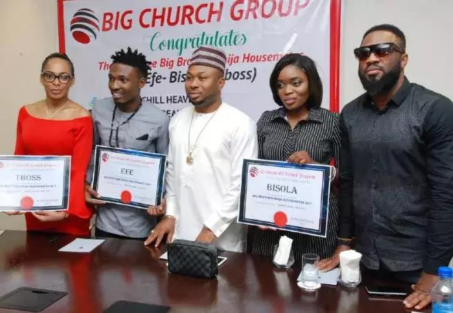 Tonto Dikeh's husband gives free plots of land in Abuja to Tboss, Efe and Bisiola