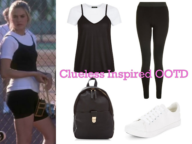 OOTD - Outfit of the day - Clueless - Cher - 90's - inspired - Outfit - backpack - styling - get the look - layered top - New Look - Trainers - Leggings