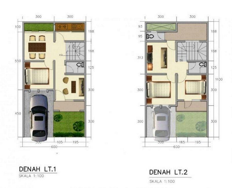 denah rumah minimalis 6x11 2 lantai minimalis