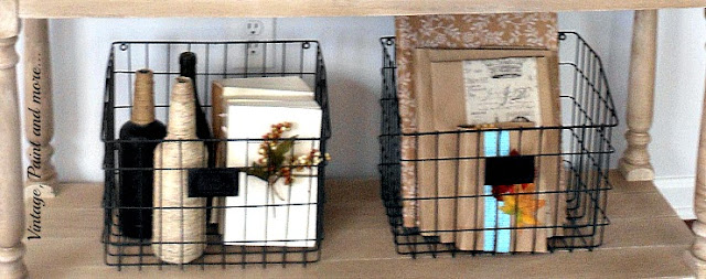 Vintage, Paint and more... wire baskets, twine wrapped bottles, DIY book page jackets