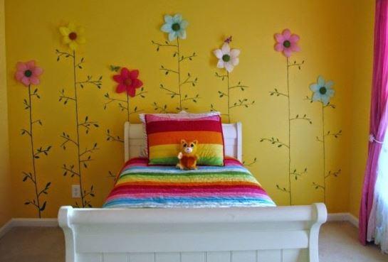 Wallpaper kamar tidur untuk anak perempuan motif bunga