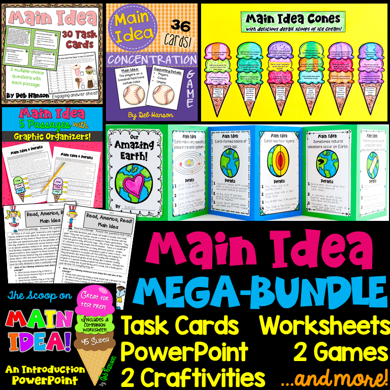 Main Idea Bundle of Activities: Everything you need for a 4th-6th grade main idea unit! Main idea worksheets, craftivities, games, lesson plans, and more!