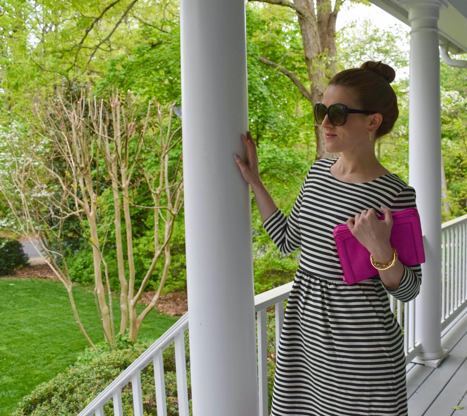 factory pocket dress in stripe - j.crew striped dress - black and white striped dress - pink j.crew purse