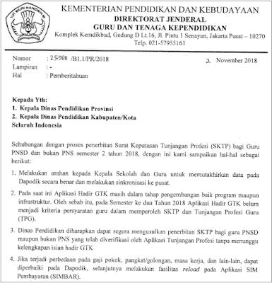 Surat Edaran Penerbitan SKTP Semester 2 Tahun 2018/ 2019 Bagi PNSD dan Bukan PNS