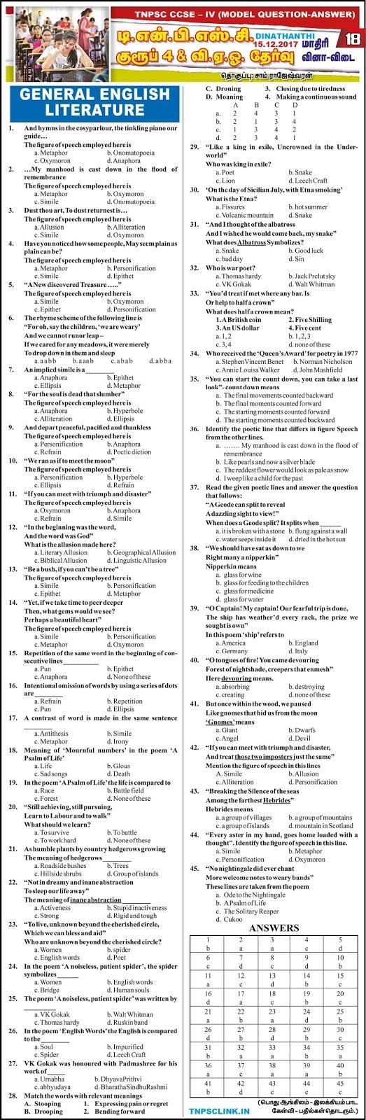 TNPSC Group 4 General English Model Papers - Dinathanthi