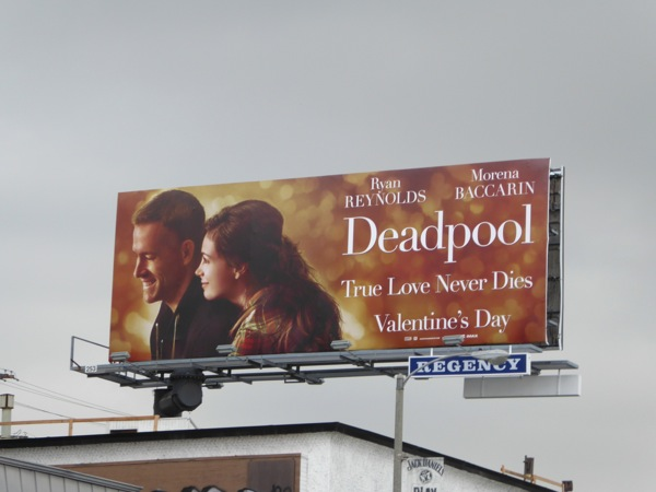 Deadpool Valentine's Day romance spoof billboard