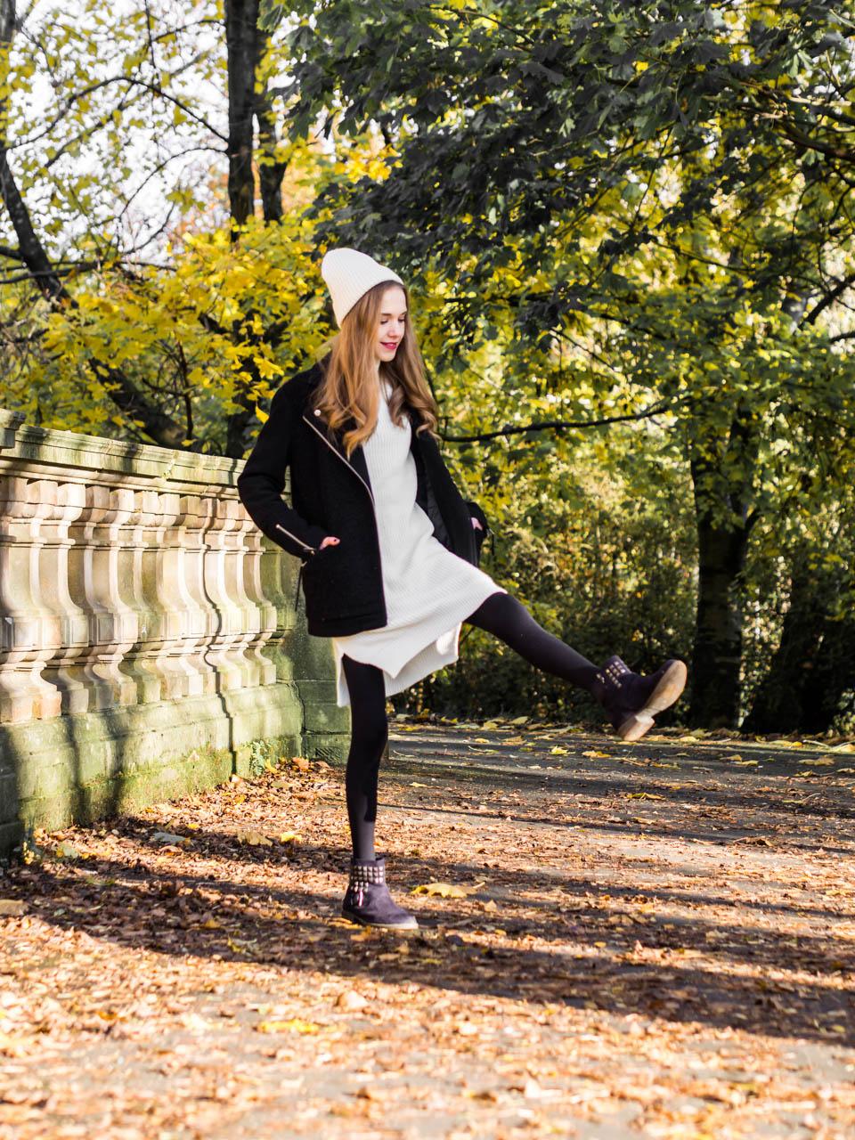 Black and white autumn outfit - Mustavalkoinen asu, syysmuoti