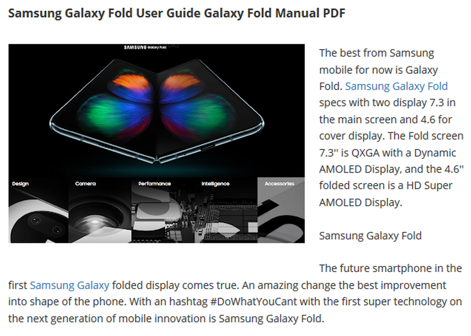 Samsung Galaxy Fold User Manual PDF