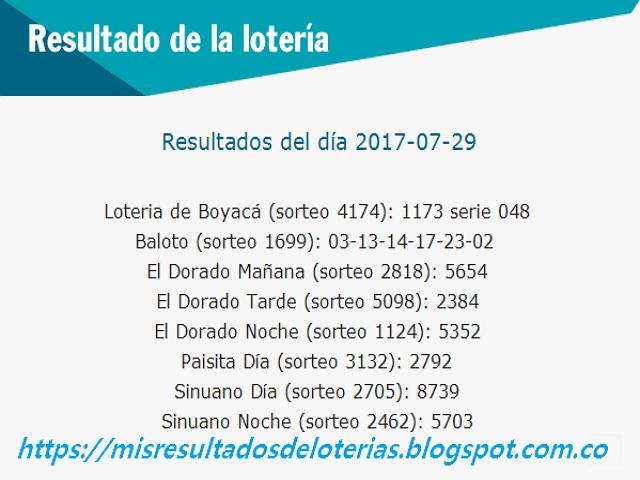 Como jugo la lotería anoche - Resultados diarios de la lotería y el chance - resultados del dia 29-07-2017