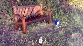 Newly oiled bench