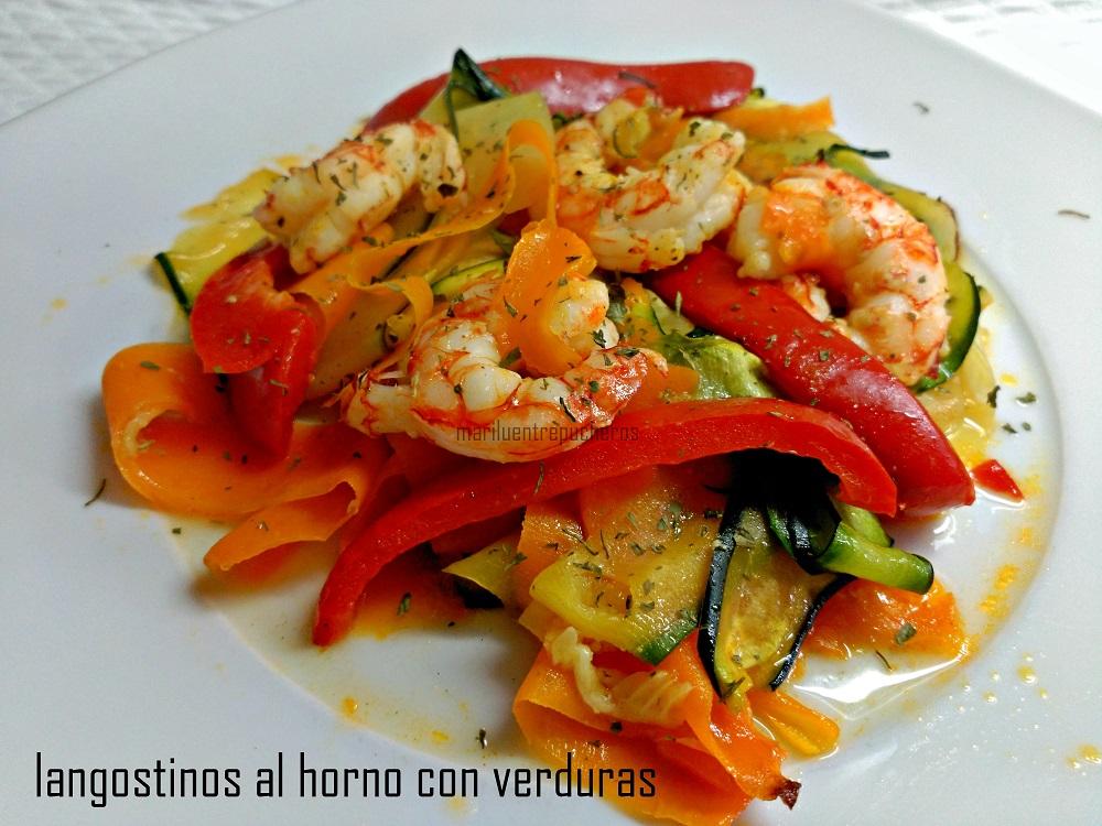Maril entre pucheros langostinos al horno con verduras for Langostinos al horno