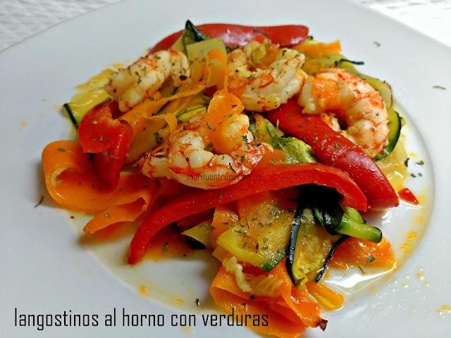 Langostinos al horno con verduras for Langostinos al horno