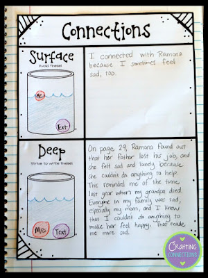 Connections: a FREE entry for interactive notebooks! This blog post contains a matching anchor chart! Teach students the difference between a deep connection and a surface connection while reading!