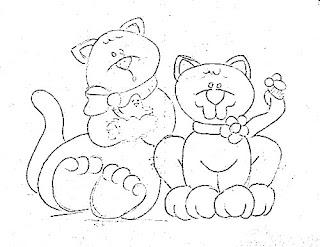 risco casal de gatinhos pintura country